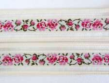 Vintage Trim Woven Jacquard Ribbon Beige Pink Green Rose Flowers Leaves Mesh