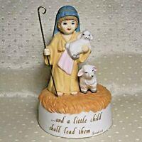 Vintage SHEPHERD & SHEEP Music Box plays JESUS LOVES ME 1989 House of Lloyd N18