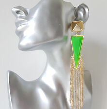 Stunning 15cm LONG green & gold coloured bead & chain tassel drop earrings NEW