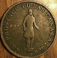 1837 LOWER CANADA UN SOU HALF PENNY TOKEN - Quebec bank on ribbon