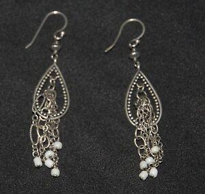 SILPADA - W1558 - Ivory-Colored Beads on Teardrop Earrings - RET