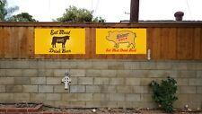Shiner Bock Eat Meat Pork cow pig craft beer Texas butcher banner poster sign
