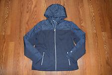 NEW Womens Free Country Black Cable Knit Fleece Hooded Jacket Coat Sz M Medium