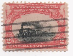 """1901 Pan-American 2c """"Fast Express""""  US Sc 295 Used Very Low Vignette Shift"""