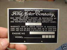 Vintage Ford Truck Weight Data Plate 1940s - 1950s Acid Etched Aluminum