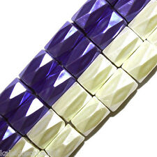 MAGNETIC HEMATITE BEADS 18 FACET 6X8MM CYLINDER PURPLE BLUE HIGH POWER HP18H