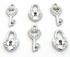 10 Lock & Key To My Heart Set Crystal Rhinestone Silver Charm/Bracelet/Bead K77