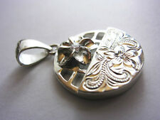 925 SILVER 34mm x22mm CARVED Hawaiian Plumeria Lei 3-D Flower Pendant 9.5gr
