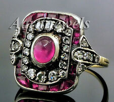 Victorian 0.68ct Rose Cut Diamond Ruby Cute Wedding Ring Shop Early & Save