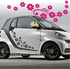 Kit adesivi FIORI (mod.5) 74 pezzi SMART FIAT 500 fiori auto moto car stickers