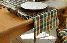 "14x78"" COUNTRY CHECK TABLE RUNNER WINE/GREEN/BEIGE/NAVY"