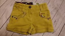 Catimini 4 Girl Corduroy Shorts Floral Flower Embroidery Yellow Boho French