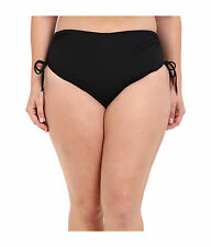 MICHAEL KORS Black Shirred HIPSTER Swim Briefs Swimsuit Bottom PLUS 22 22W NWT