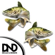 "Walleye - Fish Decal Fishing Tackle Box Bumper Sticker ""5in SET"" F-1110 D&"