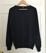 J CREW Mens Sweater V-Neck Merino Wool Black XL