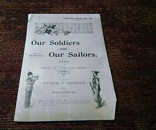 Our soldiers and our sailors 1901 antique Victorian sheet music