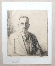 Original James McBey etching of Albert H. Wiggin SIGNED by both