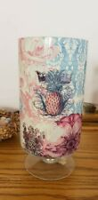 """Glass Vase Pink Blossom  Multi color Flowers 10"""" Tall 5"""" Wide Beautiful multiuse"""