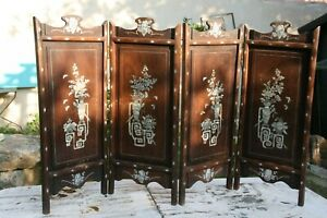 petit paravent bois exotique décor de nacre Chine Indochine chinese wood screen