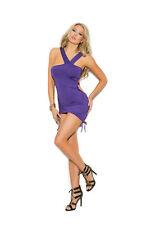 Asymmetrical Mini Dress Scrunch Sides Ruching Clubwear Adult Women Plus Size Purple 3xl