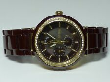 Fossil Brown Chocolate Ceramic Analog Dial Gold Multifunction Watch CE1046