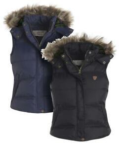 Womens Gilet Bodywarmer Jacket Quilted Faux Fur Waistcoat Plus Size 18 20 22 24