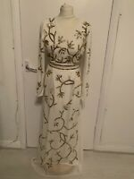 Lipsy, Uk 6, EU, 34, White/Gold Embellished Maxi Dress, Full Length New,RRP £110