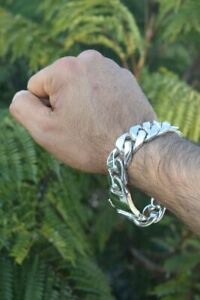 SOLID 925 Sterling SILVER MEN'S CURB BRACELET CHAIN 200GR SOLID HEAVY BRAND NEW