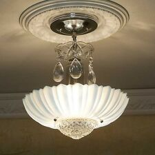 167b old Vintage aRT DEco CEILING LIGHT chandelier fixture glass Blue 3 Light