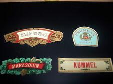 lot 4 mini etiquettes lithographie prunelle kummel marasquin chromo litho ancien