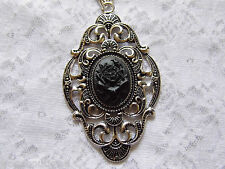 #JRK902 Black Gothic Rose Victorian Necklace Pendant Morbid Silver ROCKABILLY