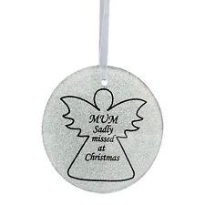 Silver Glittery Glass Memorial Angel Christmas Tree Hanger - Mum