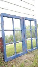 VINTAGE SASH ANTIQUE WOOD WINDOW RUSTIC FRAME BLUE DISTRESSED W/ MIRRORS SET 2