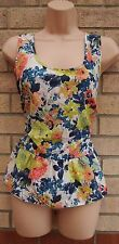 BLUE CREAM  GREEN ORANGE SILKY FEEL A LINE TEA FLORAL BLOUSE TOP CAMI VEST 16 XL