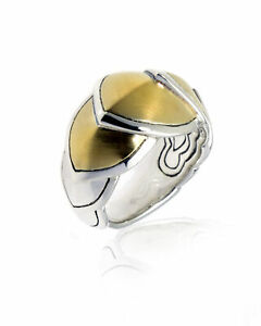 John Hardy Sterling Silver And 18k Yellow Gold Legends Ring Sz 6 RZ6647BHX6 $895