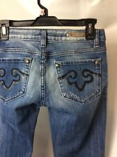 ReRock Express Boot cut Jeans Low Rise Studded Pockets Some Distress SZ: 2R EUC