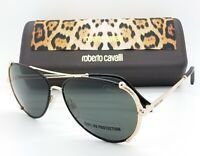 NEW Roberto Cavalli sunglasses RC1029 28A Black Gold Grey Aviator AUTHENTIC 58mm