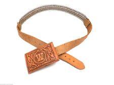 Vintage Money Buckle Belt Original w/ Patent Number Tooled Leather Spring Belt