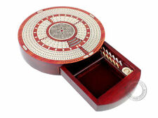 Round Shape 4 Tracks Continuous Cribbage Board Bloodwood/Maple+ Skunks & Corners