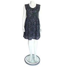Vintage India Cotton Collared Button Front Sleeveless Egyptian Eye Print Dress S