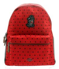 NWT Authentic Coach Charlie Backpack In Bandana Print With Mickey In Bright Red