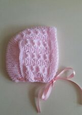 Knitted baby bonnet  hat, size 0-3   months,pink   color ,for girl