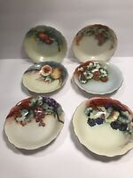 6 VERY VINTAGE M & Z AUSTRIA HAND PAINTED PORCELAIN  BOWLS FRUIT DESIGN  5 1/2''