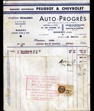 """BOURGES (18) CONCESSIONNAIRE AUTOMOBILE PEUGEOT & CHEVROLET """"AUTO-PROGRES"""" 1933"""
