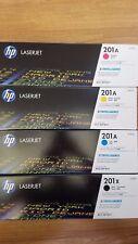 Genuine HP LaserJet 201A & 201X - Complete Set of 4 - Black-Cyan-Magenta-Yellow