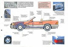 Mercedes 500 SL Roadster V8 Capote Hard-top Germany 1989 Auto Car FICHE FRANCE