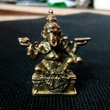 Lord Ganesha Sitting Hindu God Thai Amulet Brass Statue Lucky Rich Charm DAH