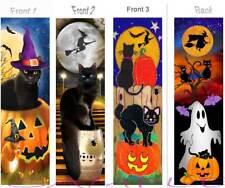 3  Bewitching BOOKMARK BLACK CAT Halloween Pumpkin Ghost Witch ART Card Figurine