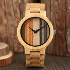 2017 New Men Nature Wood Bamboo Women Modern Fold Clasp Casual Wrist Watch Gift