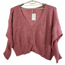 Free People Womens Moonbeam V Alpaca Blend Ribbed Knit Pullover Sweater